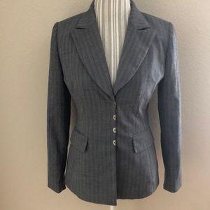 Tahari Grey Striped Blazer